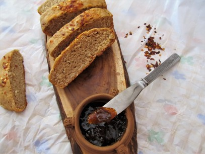 Wholewheat Oats Buttermilk Bread topped with Chilly flakes , with homemade Gooseberry Jam